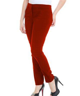 Calça Feminina Social Vermelha com passante