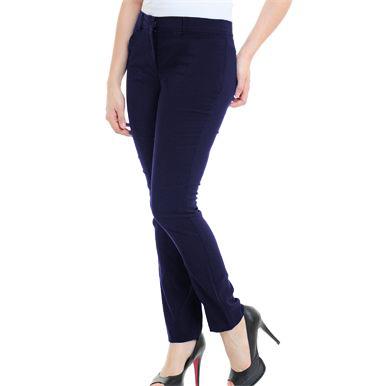 e42b14848 Calça Feminina Social Azul Marinho com passante - Alpha Moda Social