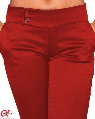 Calça Social cós transpassado Feminina Vermelha