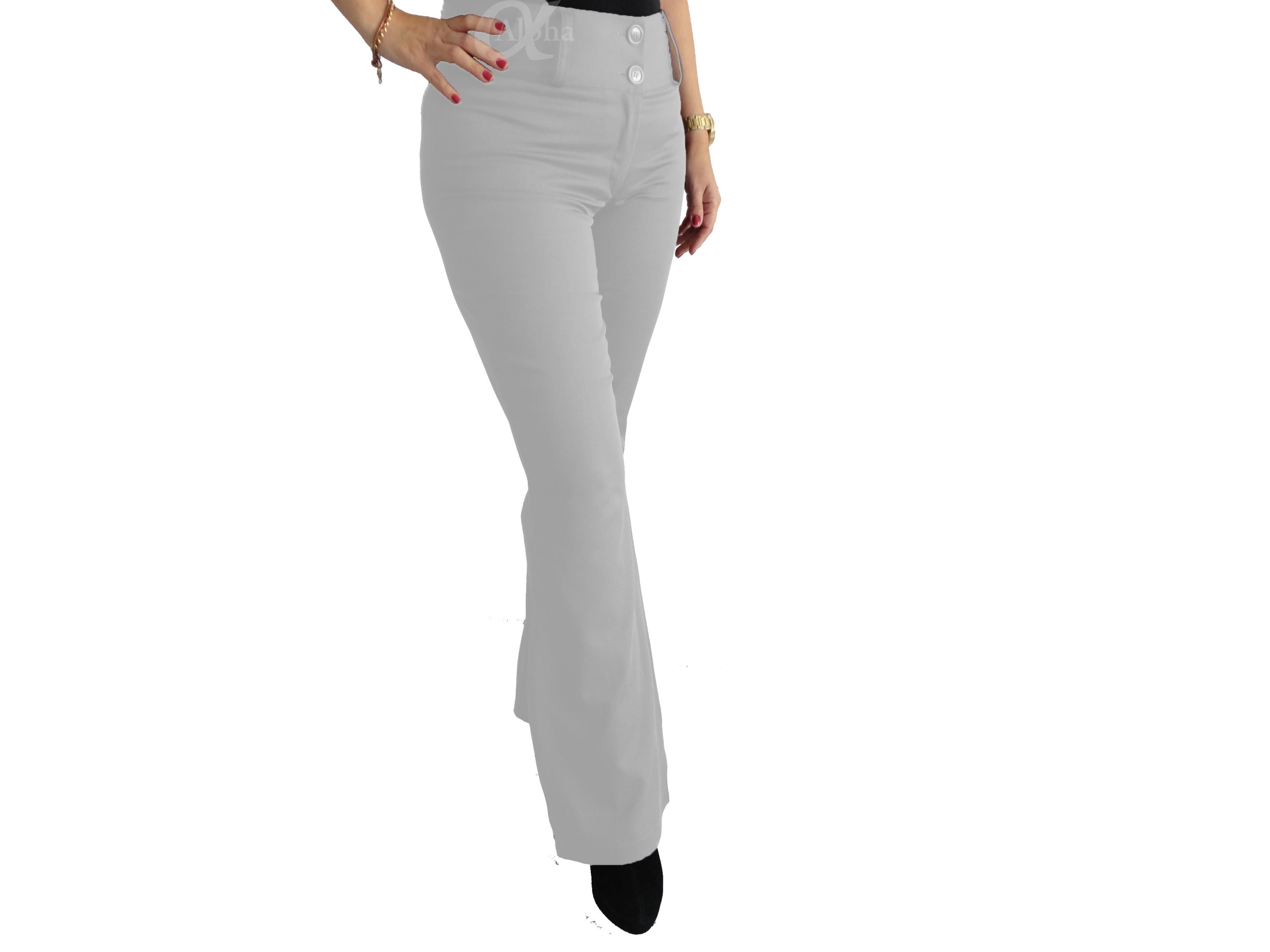 e94dd39970 Calça Flare Social Cintura Alta Branca - Alpha Moda Social