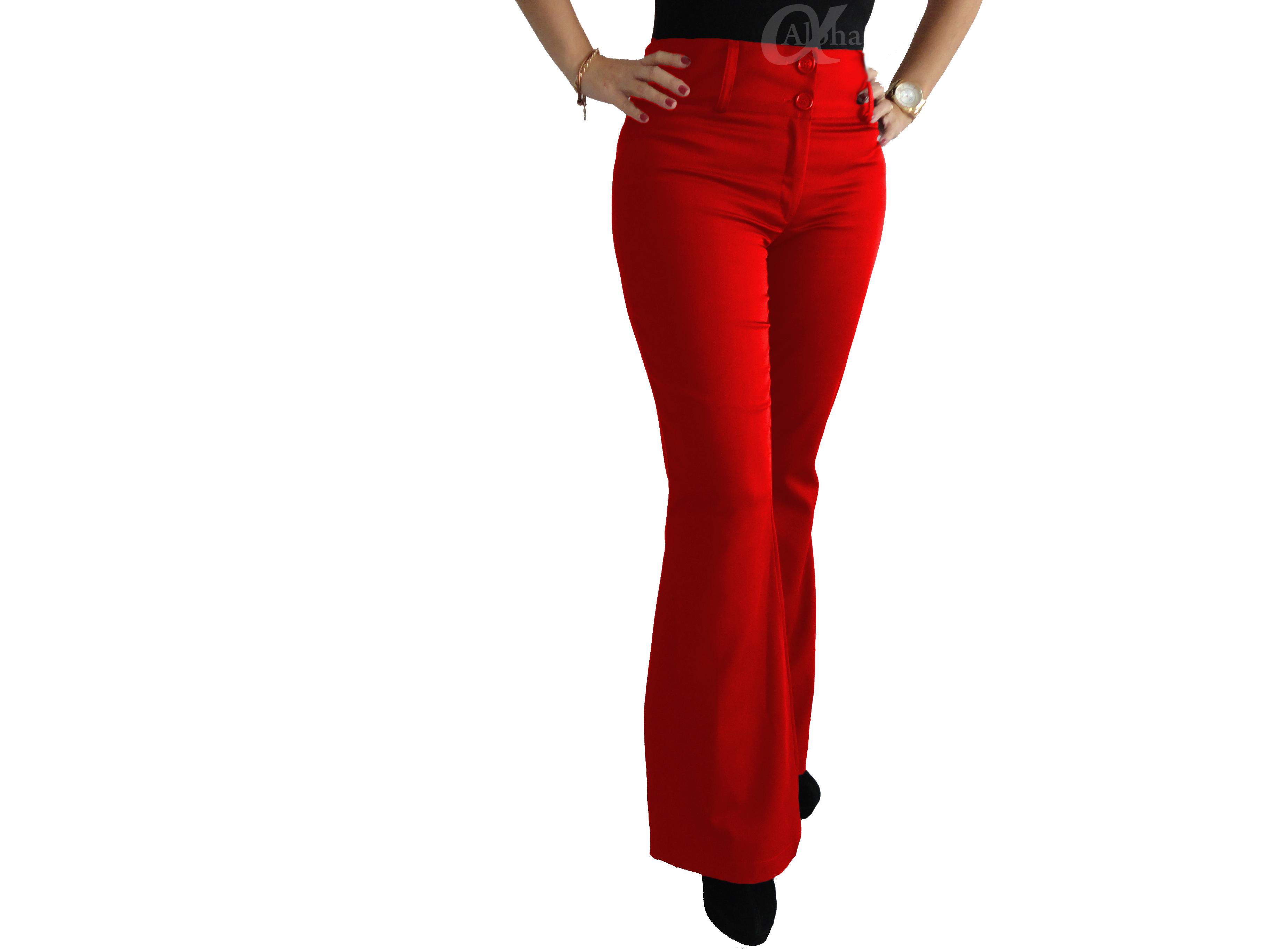 092f9fb63 Calça Flare Social Cintura Alta Vermelha - Alpha Moda Social