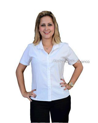Camisa Social Feminina Manga Curta Gola Esporte