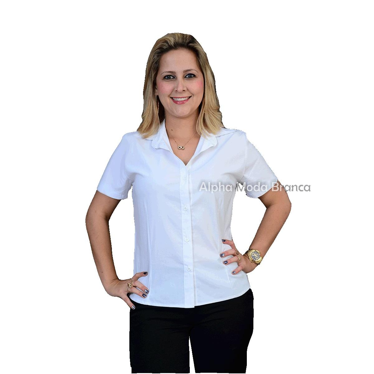 a18de09081 Camisa Social Feminina Manga Curta Gola Esporte - Alpha Moda Social