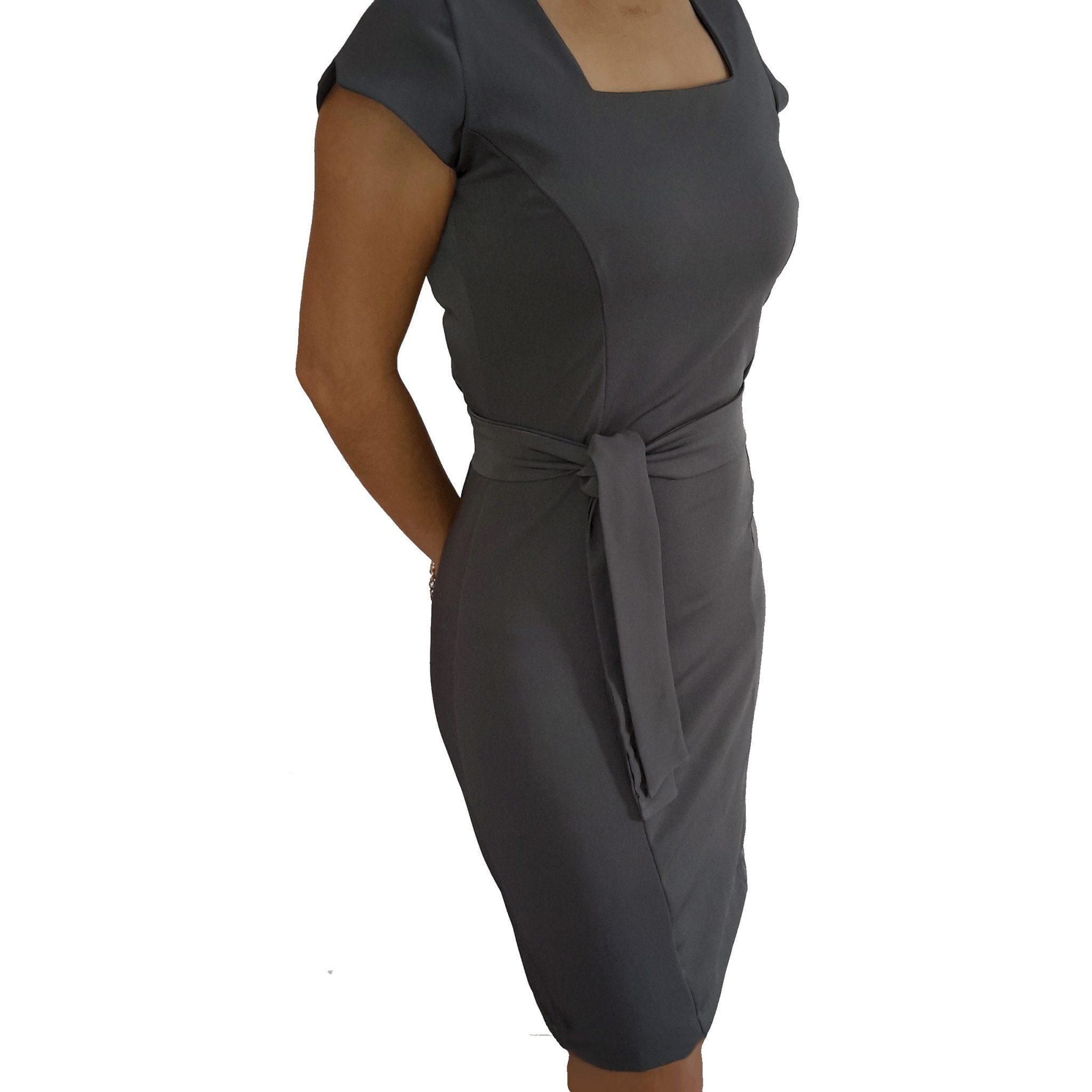 91a03acaba Vestido Chumbo Tubinho Decote Quadrado com cinto - Alpha Moda Social