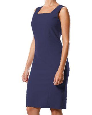 Vestido Tubinho Decote Quadrado Azul Marinho