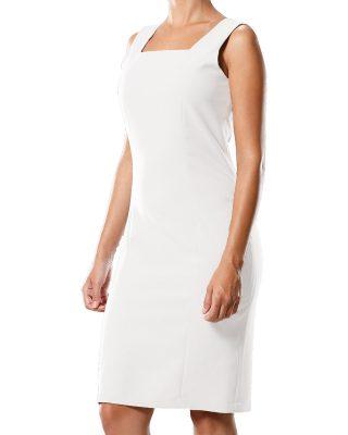 Vestido Tubinho Decote Quadrado Branco