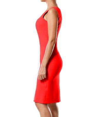 Vestido Tubinho Decote Quadrado Vermelho