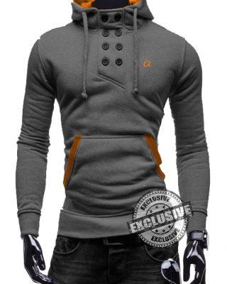 Blusa de Moletom com elastano Masculina Cinza Mescla – Slim Fit