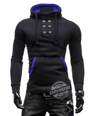 Blusa de Moletom com elastano Masculina Preta – Slim Fit