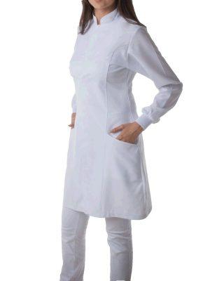 Jaleco Feminino com punho Gola Padre – Tecido 100% algodão