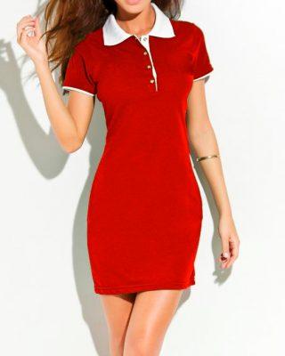 Vestido Polo Vermelho com gola branca