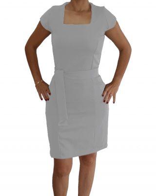 Vestido Branco Tubinho Decote Quadrado com cinto