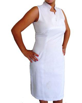 Vestido Tubinho Gola Japonesa Branco