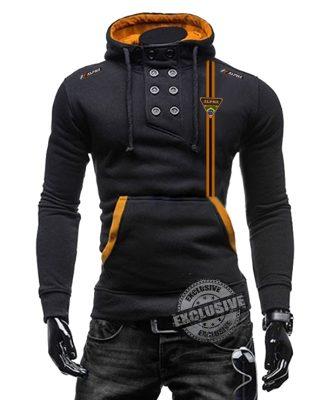 Blusa de Moletom com elastano Slim Fit Alpha Sports faixa laranja e preta