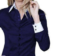 Camisa Feminina Manga Longa Luxo Azul e Branca  botões duplos