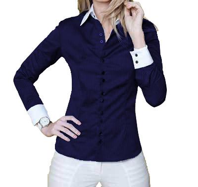 498c100532 Camisa Feminina Manga Longa Luxo Azul e Branca botões duplos - Alpha ...