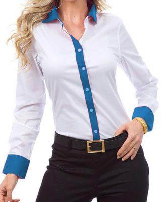 Camisa Feminina Manga Longa Exclusive Branca e Azul Anyl