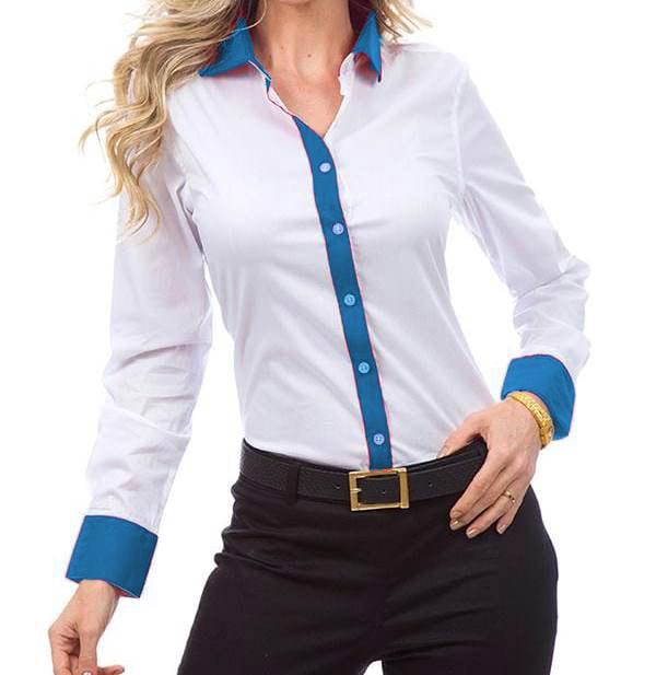 e0ba33ff90 Camisa Feminina Manga Longa Exclusive Branca e Azul Anyl - Alpha ...