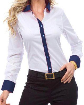Camisa Feminina Manga Longa Exclusive Branca e Azul Marinho