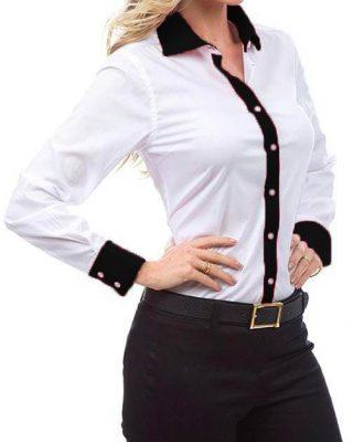 Camisa Feminina Manga Longa Exclusive Branca e Preta