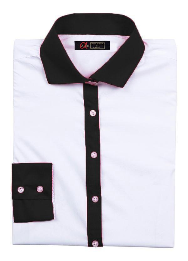 Camisa Feminina Manga Longa Exclusive Branca e Preta - Alpha Moda Social f438c15c24