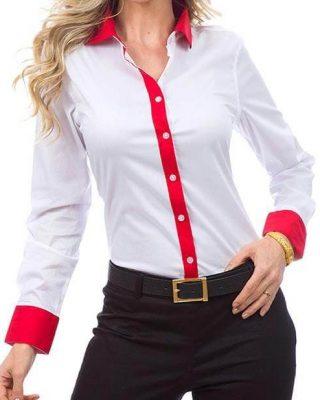 Camisa Feminina Manga Longa Exclusive Branca e Vermelha