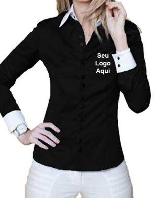 Camisa Feminina Personalizada com detalhes e botões duplos kit c/ 4 pçs