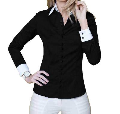 Camisa Feminina Manga Longa Luxo Preta e Branca botões duplos
