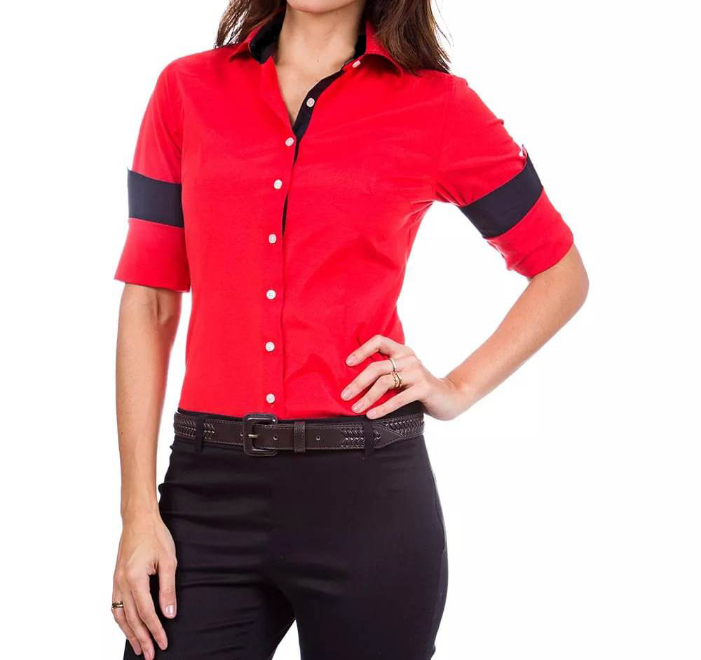 Camisa Feminina Manga Longa Alpha Vermelha e Preta - Alpha Moda Social 14a7ab6ebb
