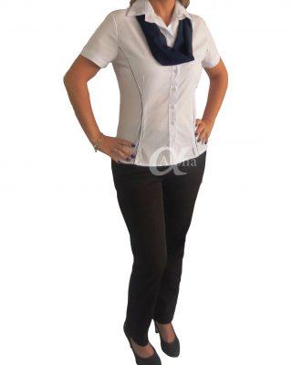 Camisa Feminina com frisos que modelam o corpo + echarpe