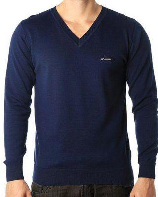 Blusa de Lã sueter masculino gola v Azul Marinho