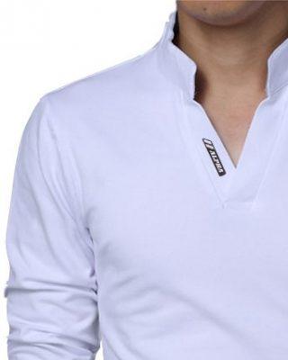 072cb2491b8cd ... Camisa Camiseta Polo Masculina Decote V Slim Fit Elastano manga longa