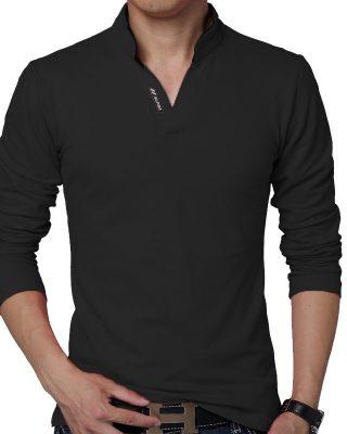 Camisa Camiseta Polo Masculina Decote V Slim Fit Elastano manga longa