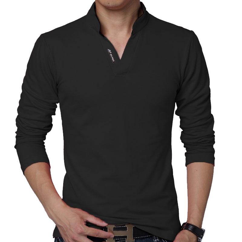 Camisa Camiseta Polo Masculina Decote V Slim Fit Elastano manga longa 257a35de8b355