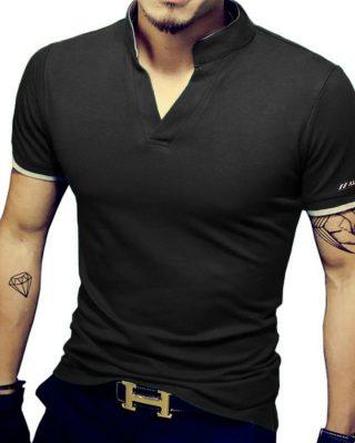 d1a90ddbe7cac Camisa Camiseta Polo Masculina Decote V Slim Fit Elastano ...