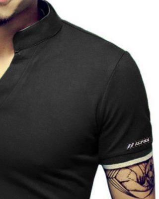Camisa Camiseta Polo Masculina Decote V Slim Fit Elastano