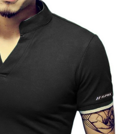 Camisa Camiseta Polo Masculina Decote V Slim Fit Elastano - Alpha ... 9d22d77c0da70