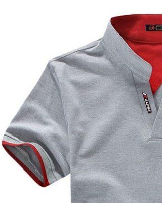 Camisa Camiseta Polo Masculina Decote V Slim Fit Elastano Mescla