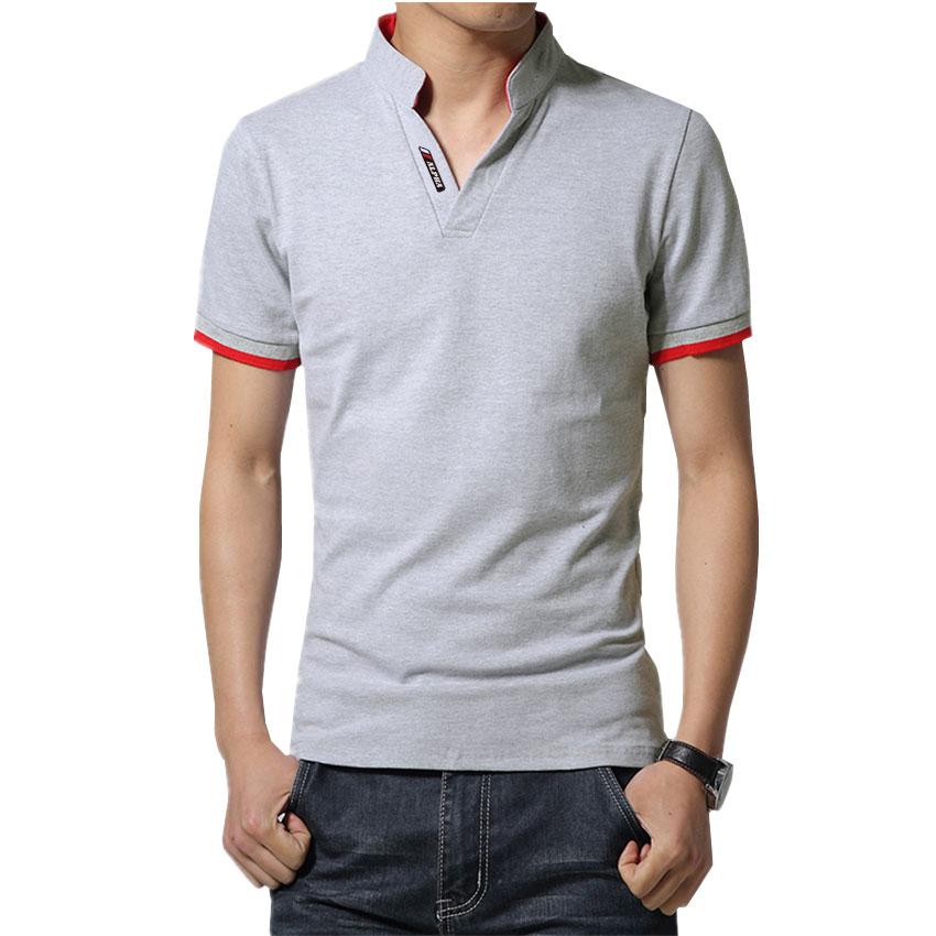 2d862d6490 Camisa Camiseta Polo Masculina Decote V Slim Fit Elastano Mescla ...