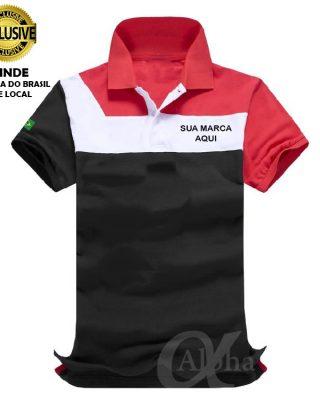 Camiseta Pólo Modelo 10 Exclusivo – Personalizada frente e site nas costas – Kit com 4 pçs