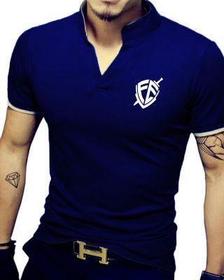 Camisa Camiseta Gola Alta Decote V Slim Fit Elastano – Fé