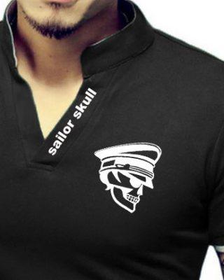 Camisa Camiseta Gola Alta Decote V Slim Fit Elastano – Caveira Marinheiro
