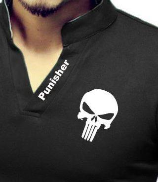 Camisa Camiseta Gola Alta Decote V Slim Fit Elastano – Justiceiro