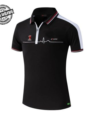 Camisa Pólo Preta e Branca Alpha Sports – com zíper