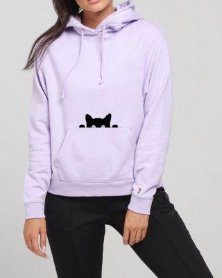 Blusa de Moletom Feminina gatinho espiando