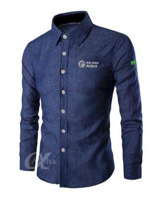 Camisa Jeans Personalizada com a sua marca- Kit c/ 4pçs