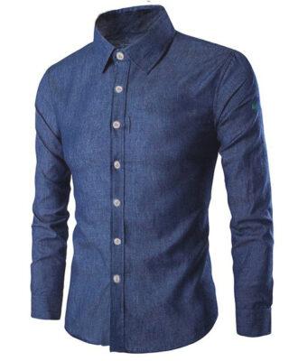 Camisa Social cor Jeans Manga Longa com proteção solar UV