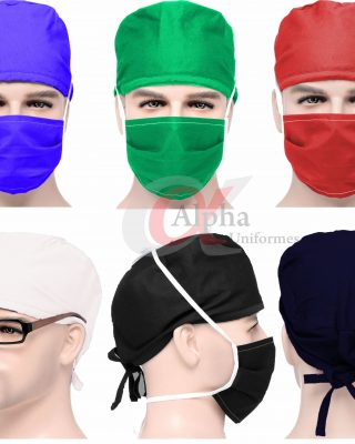 Máscara + toucas Cirúrgica de tecido protetora – pacote com 4 pçs