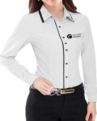 Camisa manga longa feminina com detalhes kit c/ 4 pçs