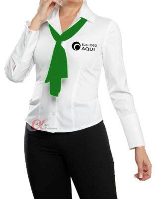 Camisa manga longa feminina tricoline com elastano e echarpe lenço uniformes – 4 pçs